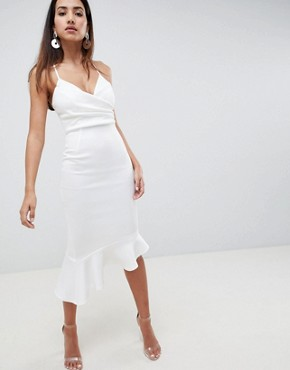 photo Scuba Cami Pephem Midi Dress by ASOS DESIGN, color Ivory - Image 1