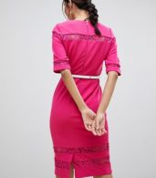 photo Lace Trim Belted Bodycon Dress by Paper Dolls, color Pink - Image 2