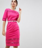 photo Lace Trim Belted Bodycon Dress by Paper Dolls, color Pink - Image 1
