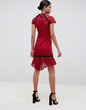 photo Frill Hem Lace Dress by Paper Dolls, color Wine - Image 2