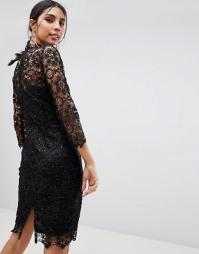 photo High Neck Lace Midi Dress by Paper Dolls, color Black - Image 2