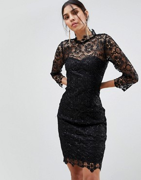 photo High Neck Lace Midi Dress by Paper Dolls, color Black - Image 1