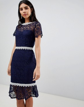 photo Crochet Short Sleeve Pencil Dress by Paper Dolls, color Navy - Image 1