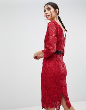 photo 3/4 Sleeve Belted Lace Pencil Dress by Paper Dolls, color Red - Image 2