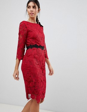 photo 3/4 Sleeve Belted Lace Pencil Dress by Paper Dolls, color Red - Image 1