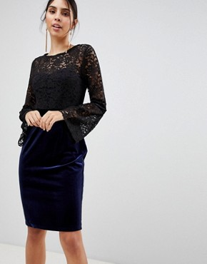 photo Long Sleeve Lace Pencil Dress by Paper Dolls, color Black - Image 1