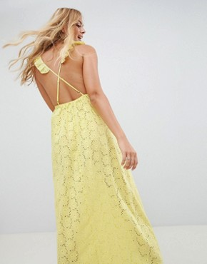 photo Broderie Frill Plunge Maxi Beach Dress by ASOS DESIGN, color Yellow - Image 2