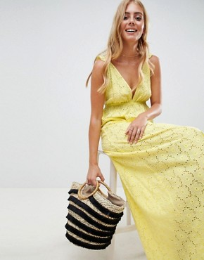 photo Broderie Frill Plunge Maxi Beach Dress by ASOS DESIGN, color Yellow - Image 1