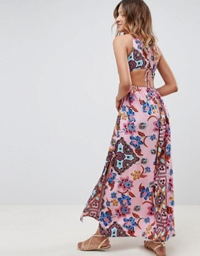 photo Rope Trim Cut Out Paisley Print Plunge Beach Maxi Dress by ASOS DESIGN, color Folk Paisley - Image 2