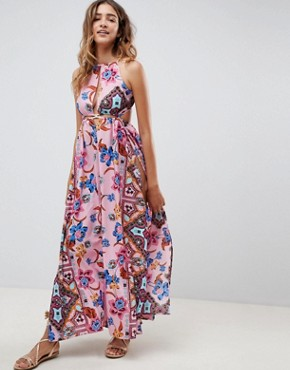 photo Rope Trim Cut Out Paisley Print Plunge Beach Maxi Dress by ASOS DESIGN, color Folk Paisley - Image 1