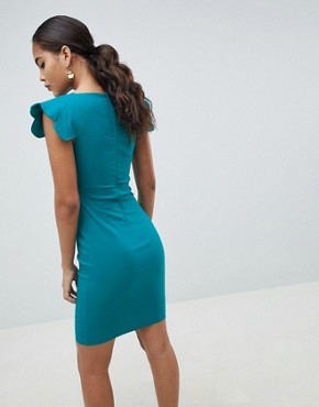 photo Shoulder Pencil Dress by Vesper Tall, color Green - Image 2