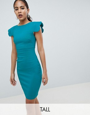 photo Shoulder Pencil Dress by Vesper Tall, color Green - Image 1
