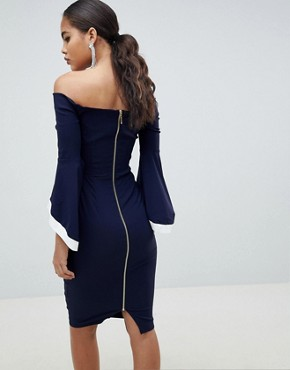 photo Contrast Trim Flute Sleeve Pencil Dress by Vesper Tall, color Navy - Image 2