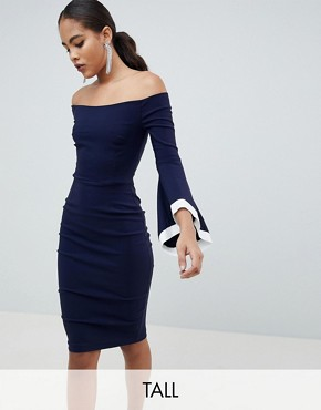 photo Contrast Trim Flute Sleeve Pencil Dress by Vesper Tall, color Navy - Image 1