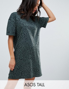photo Ultimate t-shirt Dress in Leopard Print by ASOS DESIGN Tall, color Multi - Image 1
