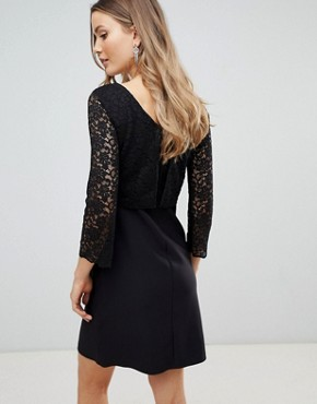 photo 3/4 Sleeve Lace Shift Dress by Zibi London, color Black - Image 2