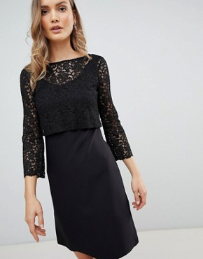 photo 3/4 Sleeve Lace Shift Dress by Zibi London, color Black - Image 1