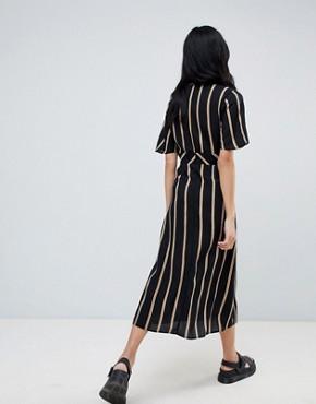 photo Button Front Dress in Stripe by Pull&Bear, color Black - Image 2