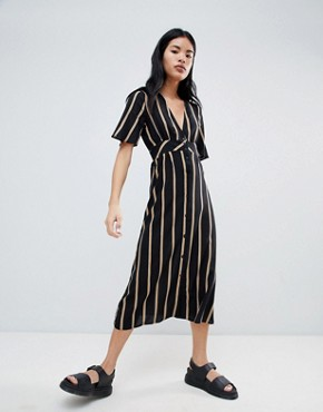 photo Button Front Dress in Stripe by Pull&Bear, color Black - Image 1