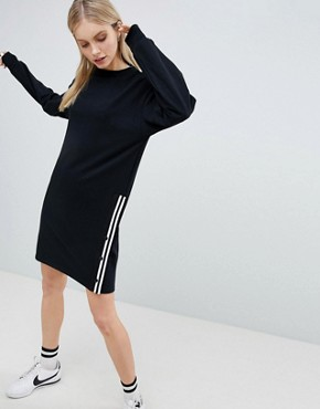 photo Long Sleeve Jersey Dress with Popper Side by Bershka, color Black - Image 1