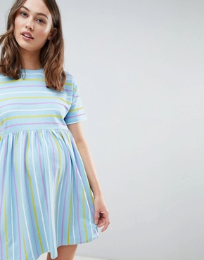 photo Maternity Smock Dress in Cut About Stripe by ASOS DESIGN, color Multi - Image 1