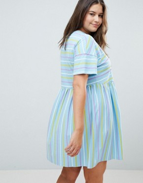 photo Smock Dress in Cut About Stripe by ASOS DESIGN Curve, color Multi - Image 2