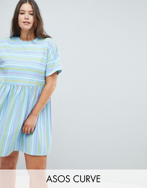 photo Smock Dress in Cut About Stripe by ASOS DESIGN Curve, color Multi - Image 1