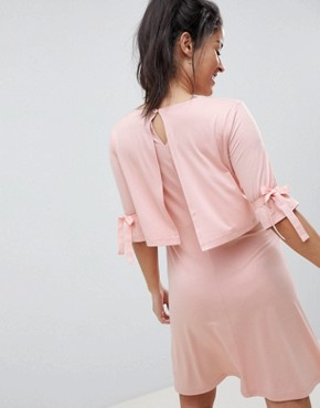photo Maternity Nursing Double Layer Skater Dress with Tie Sleeve by ASOS DESIGN, color Nude - Image 2