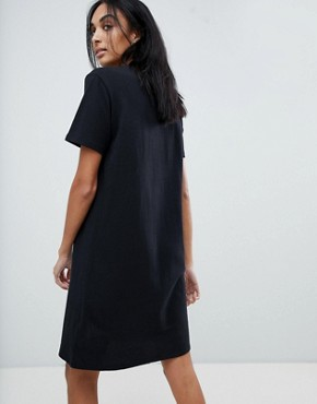 photo Jersey T-Shirt Dress with Block Logo by Calvin Klein, color Black White - Image 2