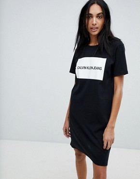photo Jersey T-Shirt Dress with Block Logo by Calvin Klein, color Black White - Image 1