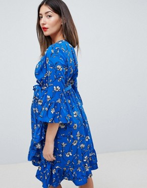 photo Floral Wrap Dress with Ruffles by Mama.licious, color Multi - Image 2
