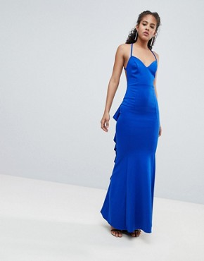 photo Waterfall Back Maxi Dress by City Goddess Tall, color Cobalt Blue - Image 2