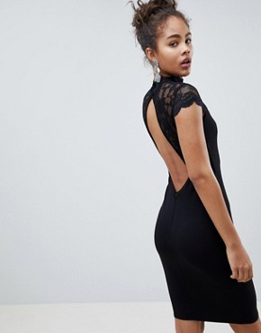 photo Open Back Midi Dress with Lace Insert by City Goddess Tall, color Black - Image 2