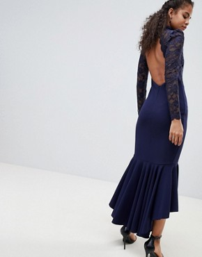 photo Long Sleeve High Neck Fishtail Maxi Dress with Lace Detail by City Goddess Tall, color Navy - Image 2