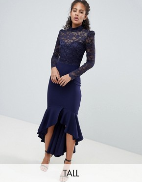 photo Long Sleeve High Neck Fishtail Maxi Dress with Lace Detail by City Goddess Tall, color Navy - Image 1