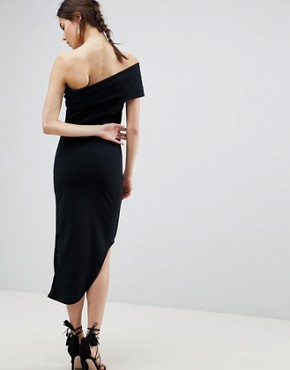 photo One Shoulder Dress with Asymetric Hem by City Goddess Tall, color Black - Image 2