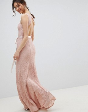 photo Lace Maxi Dress with Satin Belt by City Goddess Tall, color Blush Pink - Image 2