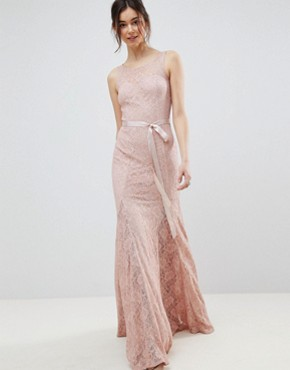 photo Lace Maxi Dress with Satin Belt by City Goddess Tall, color Blush Pink - Image 4