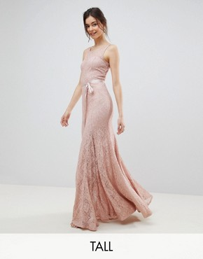 photo Lace Maxi Dress with Satin Belt by City Goddess Tall, color Blush Pink - Image 1