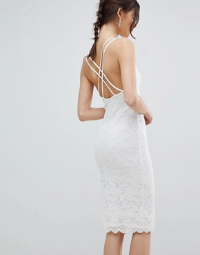 photo Scalloped Edge Lace Midi Dress by City Goddess Tall, color White - Image 2