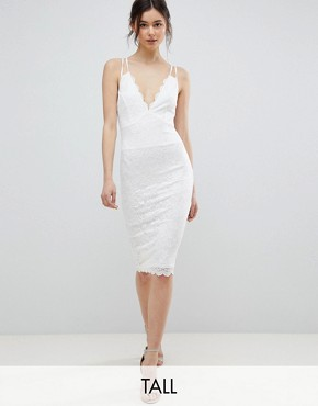 photo Scalloped Edge Lace Midi Dress by City Goddess Tall, color White - Image 1