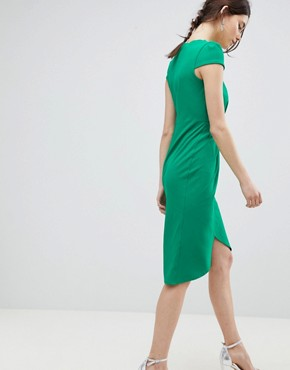 photo Bardot Wrap Over Pencil Midi Dress by City Goddess Tall, color Green - Image 2