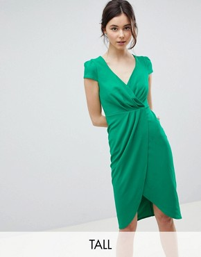 photo Bardot Wrap Over Pencil Midi Dress by City Goddess Tall, color Green - Image 1