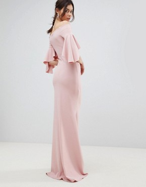 photo Long Sleeve Bardot Maxi Dress by City Goddess Tall, color Blush Pink - Image 2