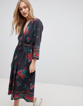 photo Wrap Detail Dress in Scarf Print by Leon and Harper, color Black - Image 1