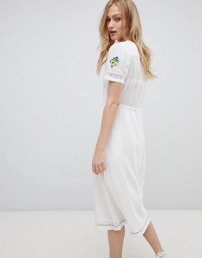 photo Embroidered Midi Dress with Button Front by Leon and Harper, color White - Image 2