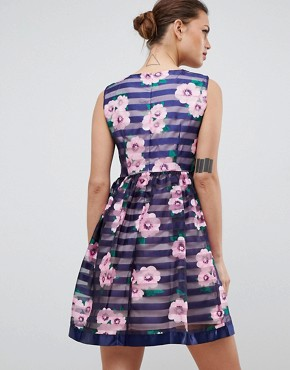 photo Floral & Striped Skater Dress by Zibi London, color Navy - Image 2