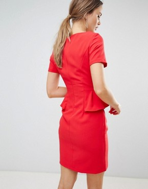 photo Pencil Dress with Frill Detail by Zibi London, color Red - Image 2