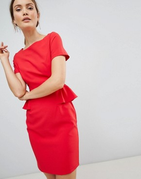 photo Pencil Dress with Frill Detail by Zibi London, color Red - Image 1