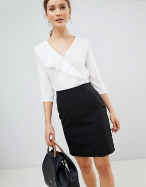 photo 2-in-1 Dress with Frill Detail by Zibi London, color Black/White - Image 1